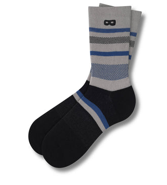 blue black and grey uneven stripes Most Unusual Camera In Black Crew Sock