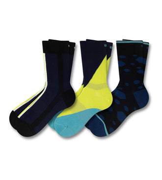 Crew Socks 3 Pack, dark blue, green, and light blue