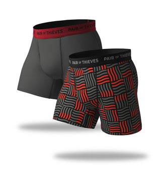 SuperFit Boxer Briefs 2 Pack, black red and grey