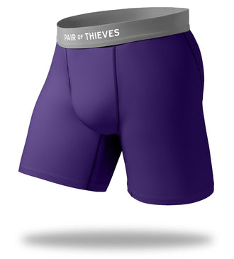 The Solid Purple Rain Cool Breeze Long Boxer Brief
