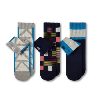 Cushion Ankle Socks patterned, grey and dark navy