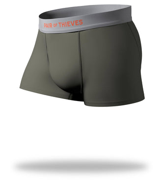 The Solid Seaweed Cool Breeze Trunks with grey waistband
