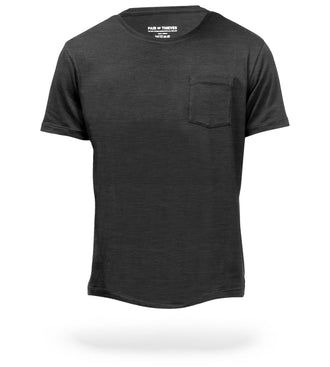 Charcoal Heather Grey Mega Soft Crew Neck Pocket Tee
