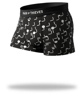 Where Is Everybody Cool Breeze Trunks with black and white design and black waistband