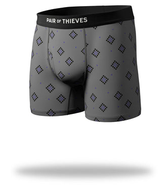 Grey Pixelated Diamonds Design Arrow Into The Air Mega Soft Boxer Brief Front