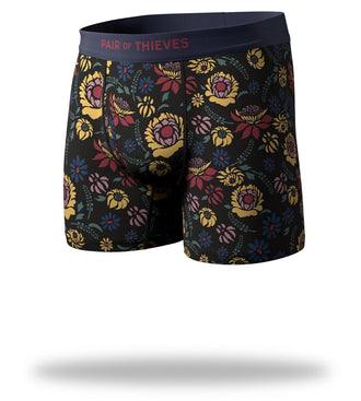 Black Yellow Maroon Floral Print Perchance to Dream Mega Soft Boxer Briefs Front