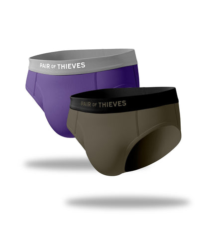 The Solid Purple Rain/Seaweed Try Both Mega Soft & Cool Breeze Briefs 2 Pack