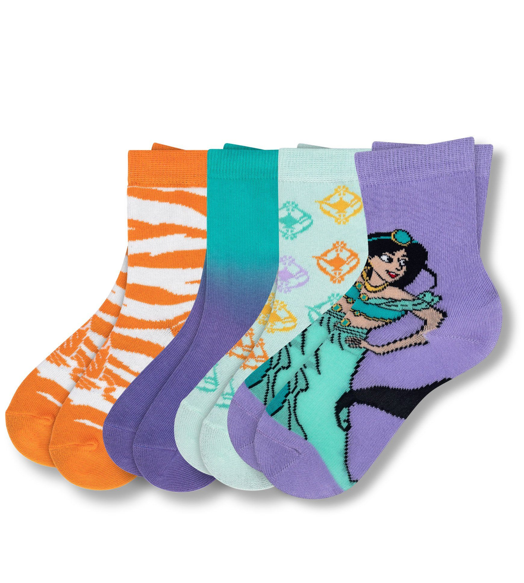 Aladdin Whole New World Kid's 4 Pack Crew Sock