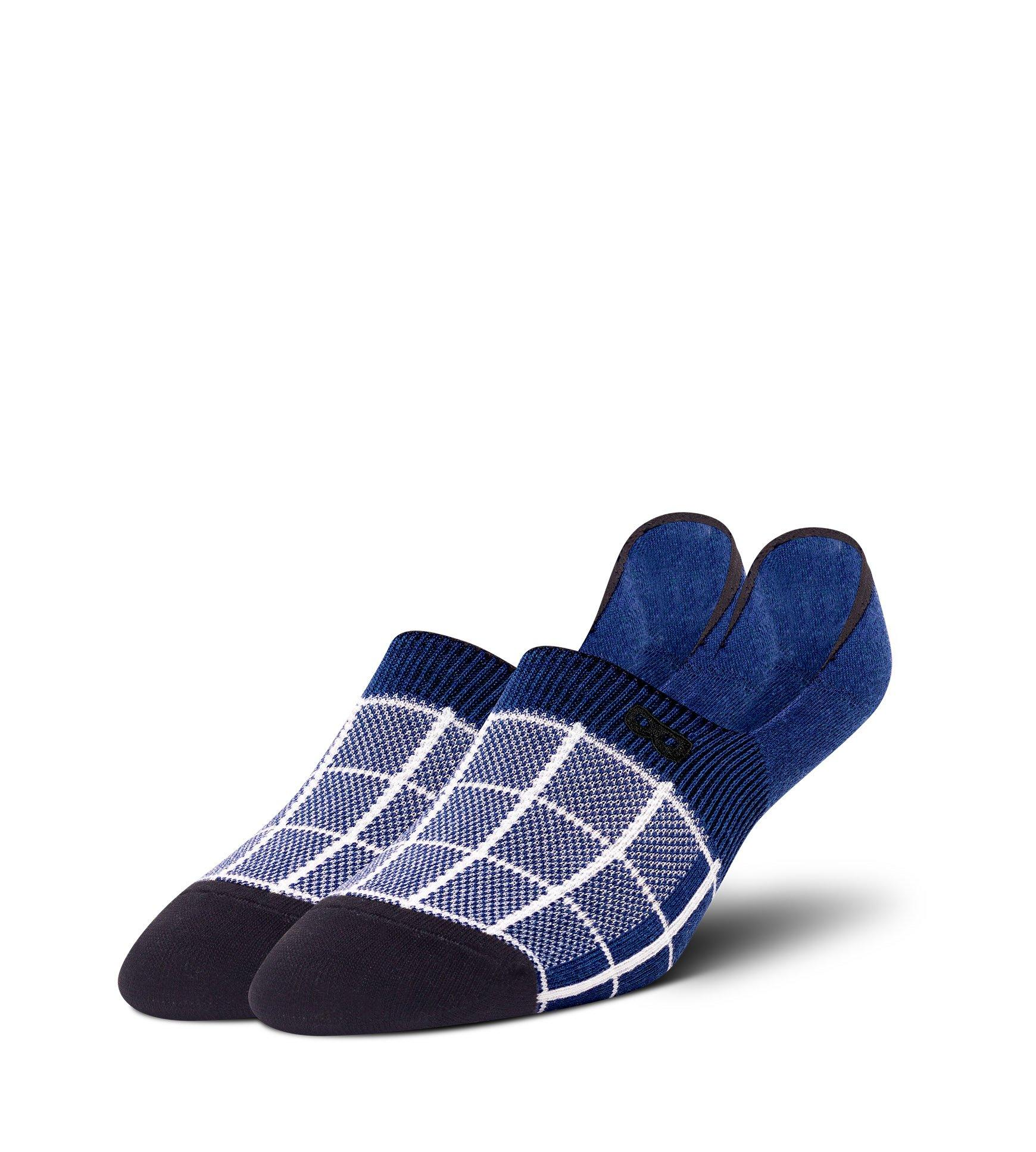 The Grid In Navy Men's No Show Sock