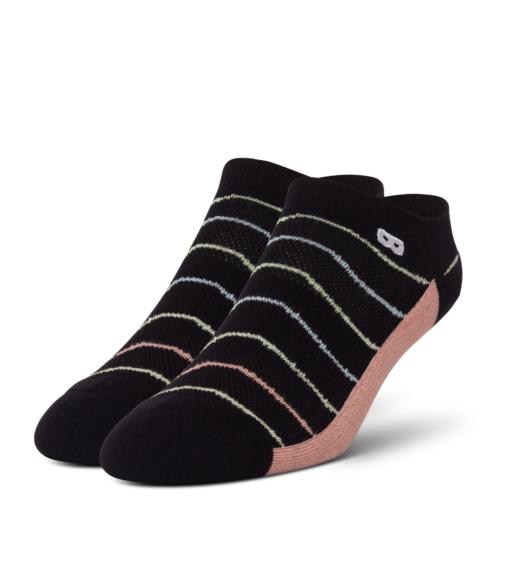 Dana Scully Women's Cushion Low-Cut Socks 3 Pack Black With Colored Stripes