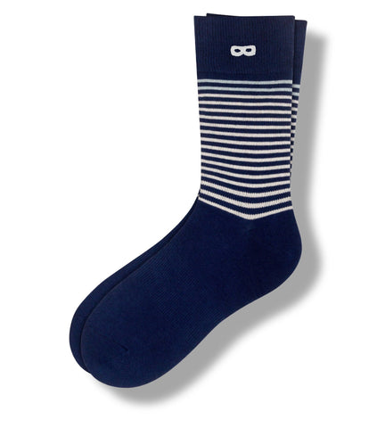 thin white stripes on navy Ducks In A Row in Deep Navy Men's Crew Socks