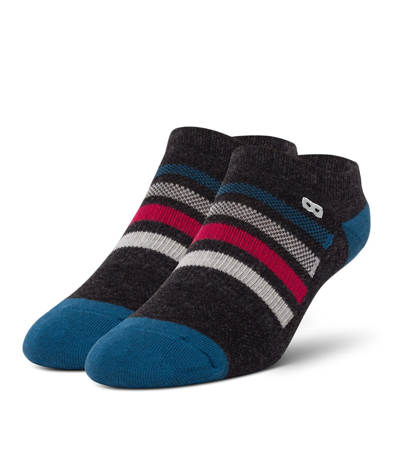 Laura Palmer Women's Cushion Low-Cut Socks Dark Heather Grey With Colored Stripes