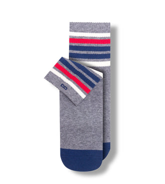 White, Fuchsia, and Navy Stripes On Grey Long Story Short Men's Cushion Ankle Socks