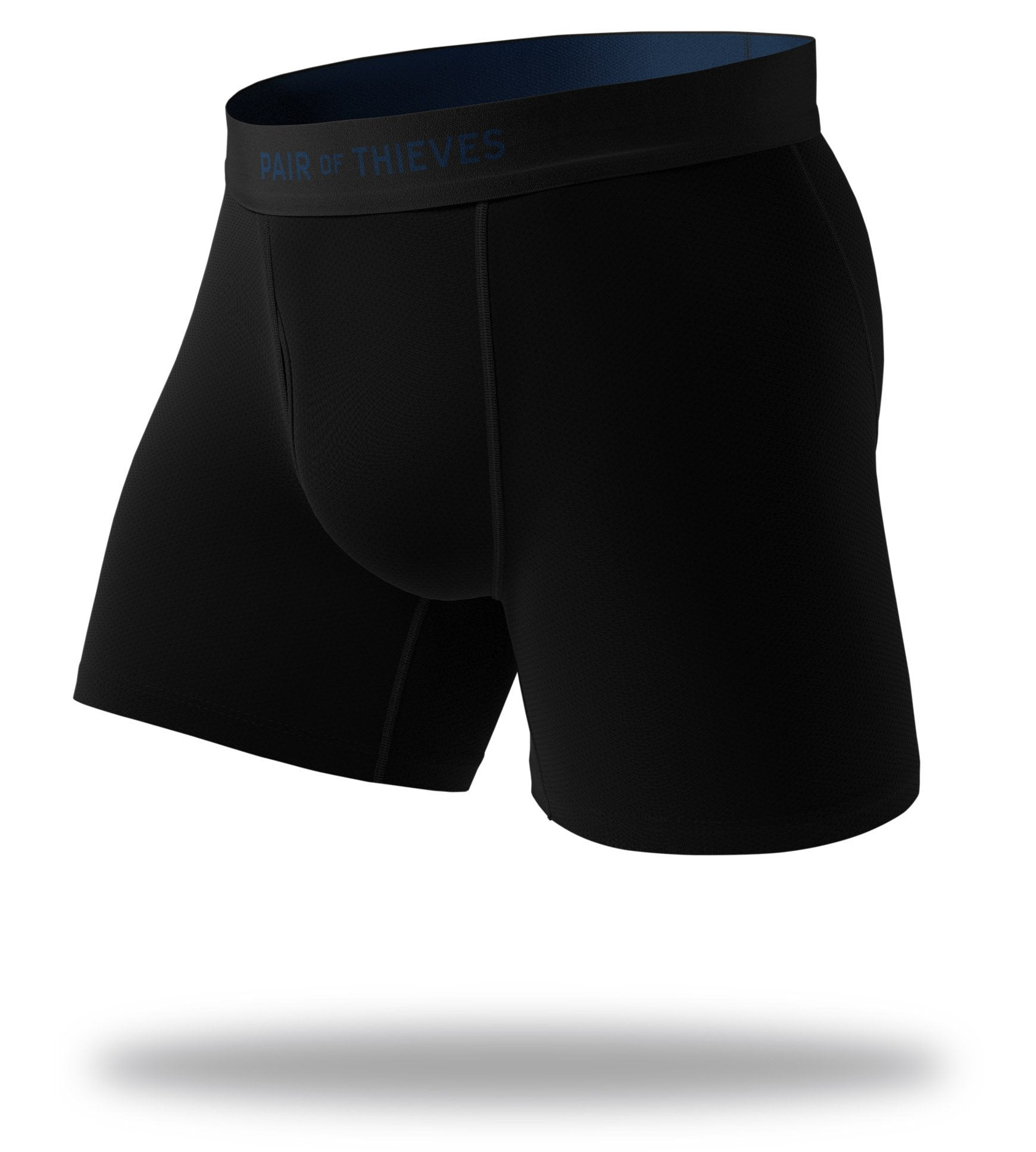 The Solid Black Navy Cool Breeze Boxer Briefs Front