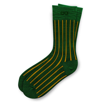 yellow thin vertical lines on Evergreen Les Lignes Men's Crew Socks