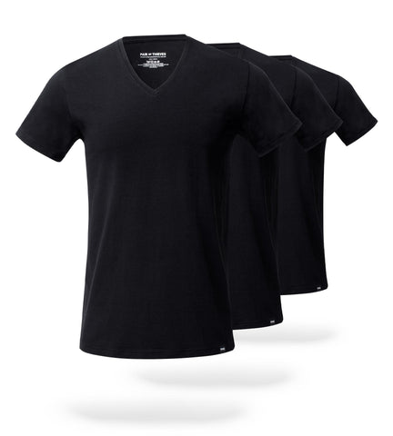 The Solid Stealth Black Mega Soft V-Neck Undershirt 3 Pack
