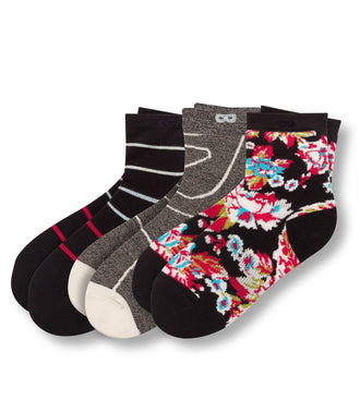 Electic Lady Women's Ankle Socks 3 Pack