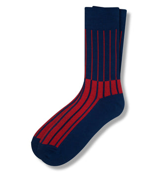 Deep Navy Les Lignes D'Or Men's Crew Sock