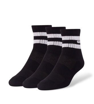 Blackout Striped Men's Cushion Ankle Socks 3 Pack