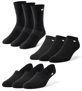 Men's Mega Blackout Mix Socks 9 Pack