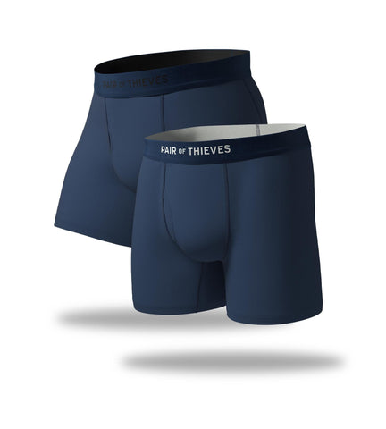 Solid Navy Try Both Mega Soft & Cool Breeze Boxer Brief 2 Pack