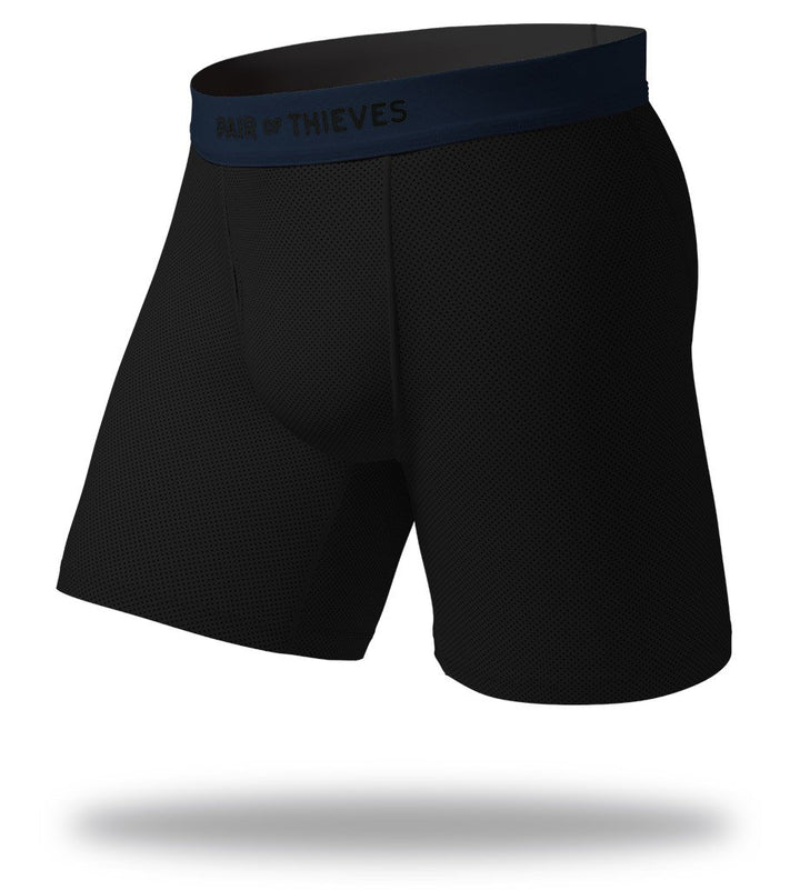 The Solid Black Navy SuperFit Long Boxer Briefs Front