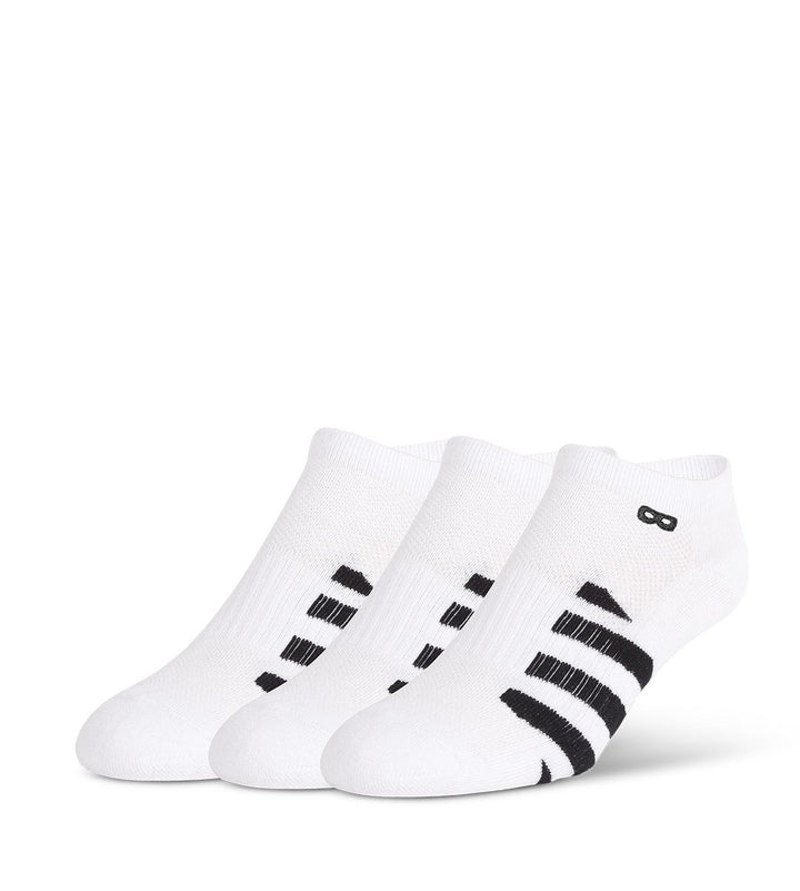 Whiteout Striped Men's Cushion Low-Cut Socks 3-Pack