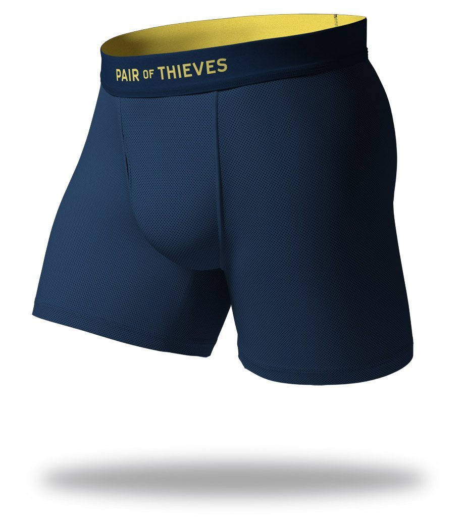 The Solid Navy Yellow SuperFit Boxer Briefs