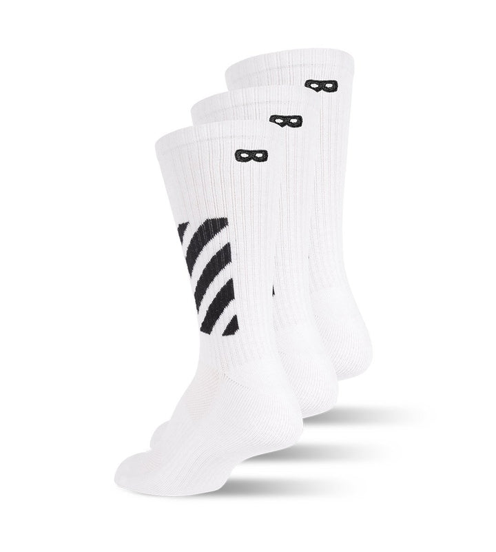 Whiteout Striped Ribbed Men's Cushion Crew Socks 3-Pack