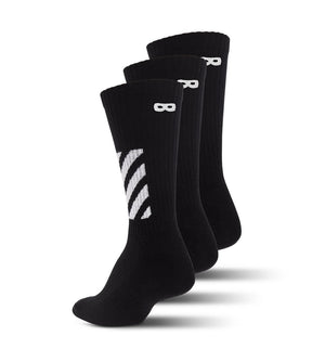 Blackout Striped Ribbed Men's Cushion Crew Socks 3-Pack