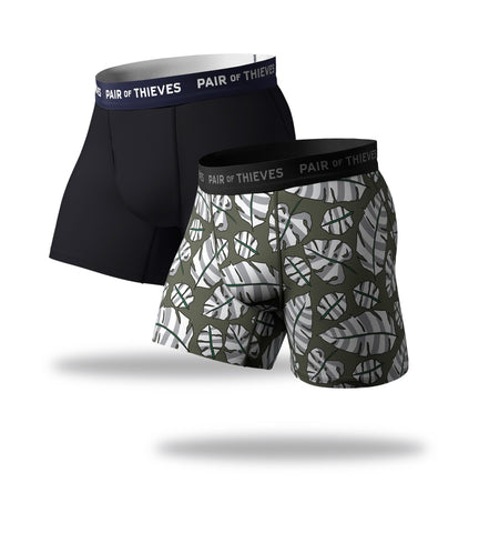 SuperFit Boxer Briefs 2 Pack, grey green and black