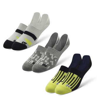 No Show Socks 3 Pack in grey, light grey, green, and black