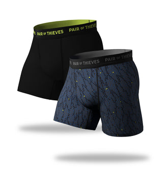 SuperFit Boxer Briefs 2 Pack in blue and black