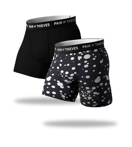SuperFit Boxer Briefs 2 Pack, black and white