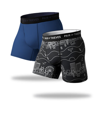 SuperFit Boxer Briefs 2 Pack, black white and blue