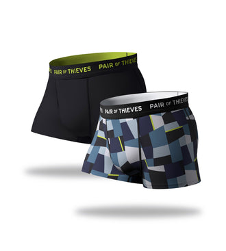 SuperFit Trunks 2 Pack, blue geometric pattern and black
