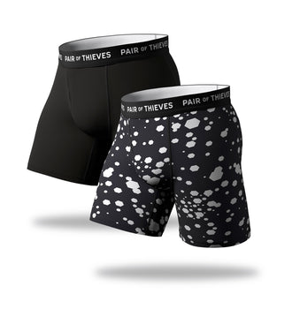 superfit long boxer brief 2 pack, white dots on black long boxer briefs, black long boxer briefs