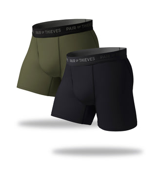 SuperFit Boxer Briefs 2 Pack, black and seaweed