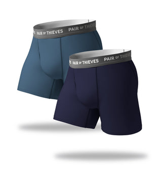 SuperFit Boxer Briefs 2 Pack, navy blue and blue