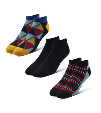Cushion Low-Cut Socks 3 Pack in black, blue, red, and yellow
