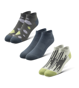 Cushion Low-Cut Socks 3 Pack in blue, green, and grey