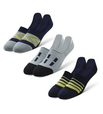 Cushion No Show Socks 3 Pack in navy, light blue and green