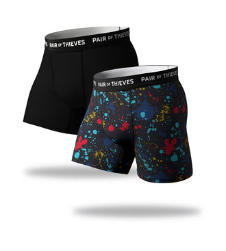 SuperFit Boxer Briefs 2 Pack, black and colorful paint splatter