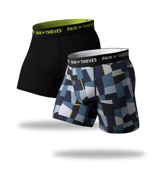 SuperFit Boxer Briefs 2 Pack, blue geometric pattern and black