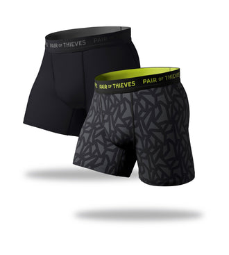 SuperFit Boxer Briefs 2 Pack, black, grey and lime