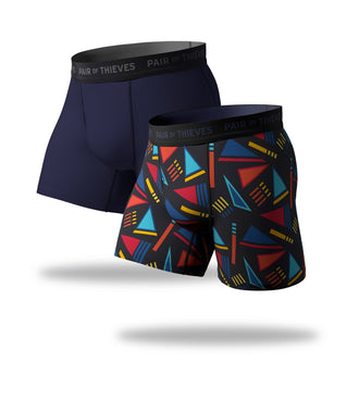 SuperFit Boxer Briefs 2 Pack, colorful geometric pattern and navy