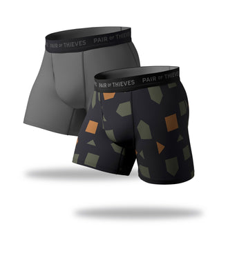 SuperFit Boxer Briefs 2 Pack, black freen orange and grey
