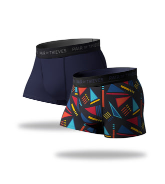 SuperFit Trunks 2 Pack, colorful geometic pattern and navy