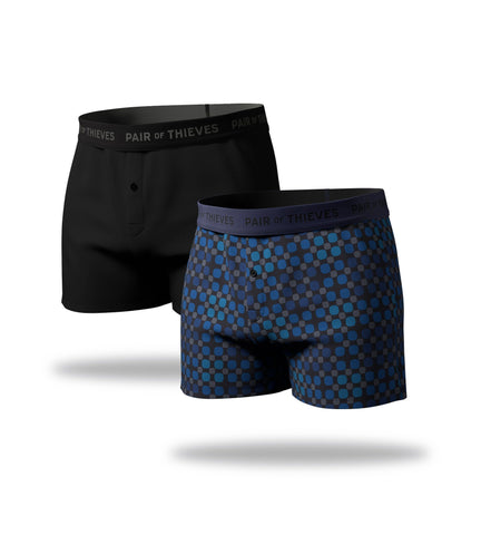 supersoft boxer 2 pack, blue dots boxer, black boxer