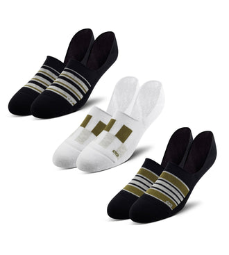cushion no show sock 3 pack, black striped cushion no show sock, white checkered cushion no show sock